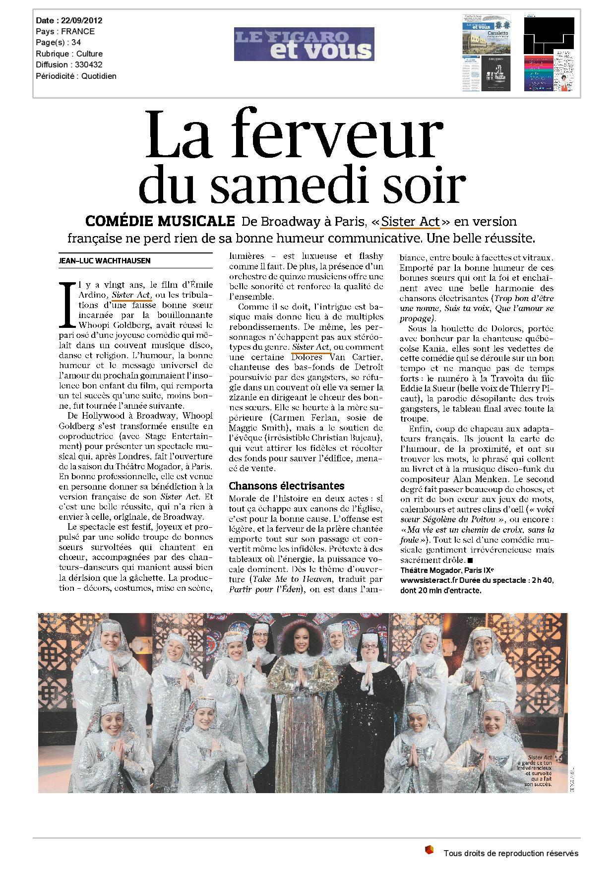 presse_Le Figaro_et_vous - Sister Act Le Musical